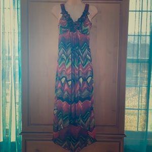 Tropical beauty long flowy dress
